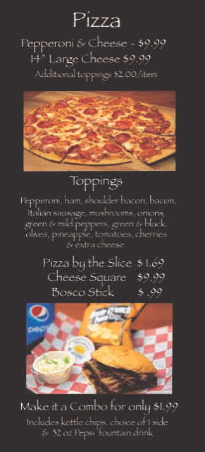 Pizza page with combos